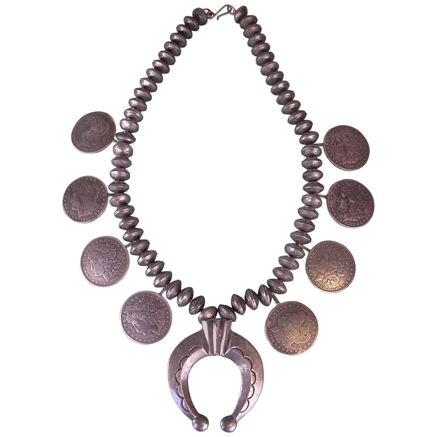 Silver dollar necklace with silver dimes w horseshoe for Dollar jewelry and more