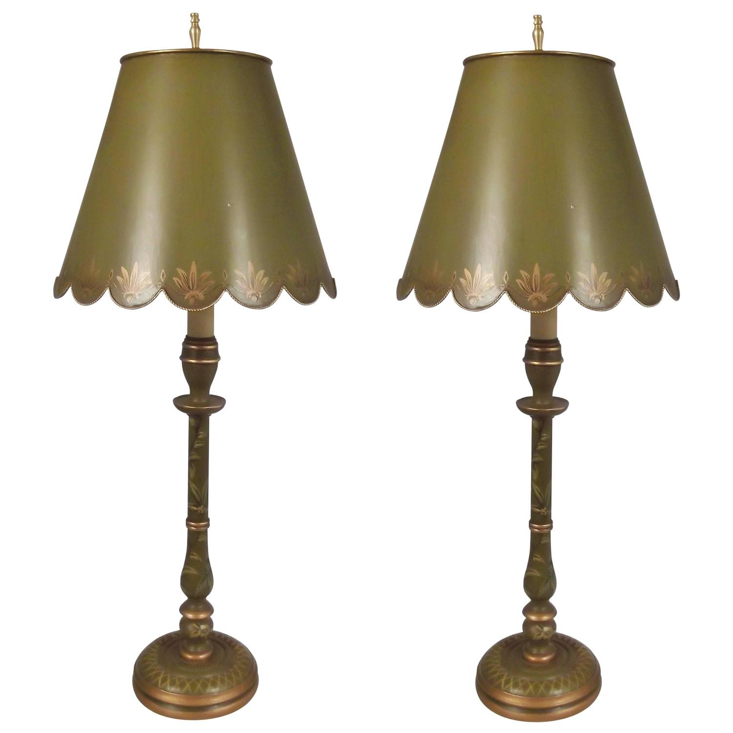 pair of tole and wood buffet lamps for sale at 1stdibs. Black Bedroom Furniture Sets. Home Design Ideas