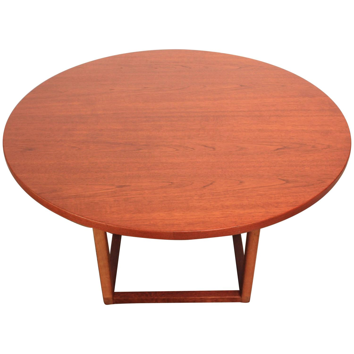 danish teak round coffee dining table at 1stdibs. Black Bedroom Furniture Sets. Home Design Ideas
