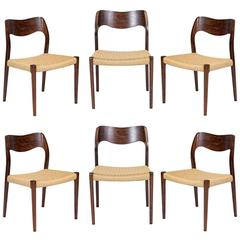 Set of Six Rosewood Niels Møller Model #71 Dining Chairs
