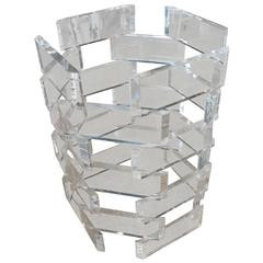 Stacked Brick Lucite Entry Way Center Foyer Dining Table Game Architectural