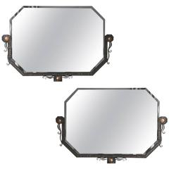 Pair of French Art Deco Hammered Steel and Bronze Mirrors, Paul Kiss
