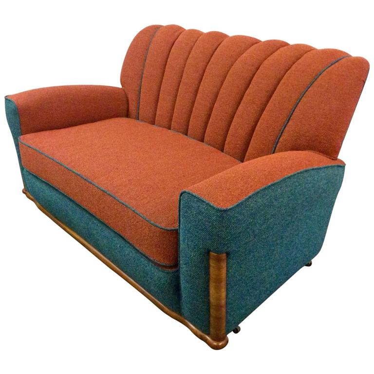 Art Deco Shell Back Sofa Newly Upholstered At 1stdibs