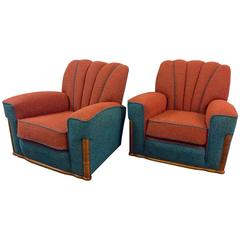 Pair of Art Deco Shell Back Armchairs Newly Upholstered