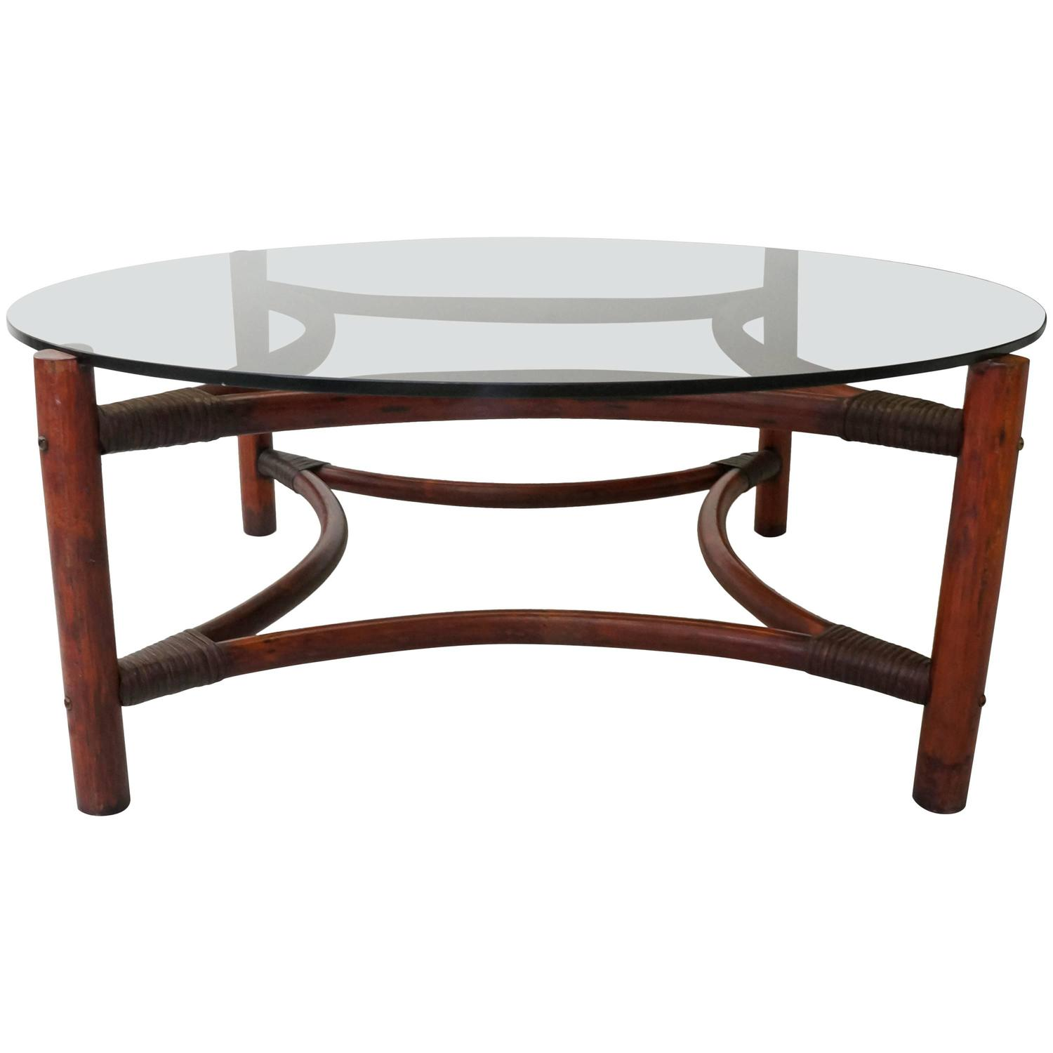 Century Rattan Bamboo Smoked Glass Large Round Coffee Table At 1stdibs
