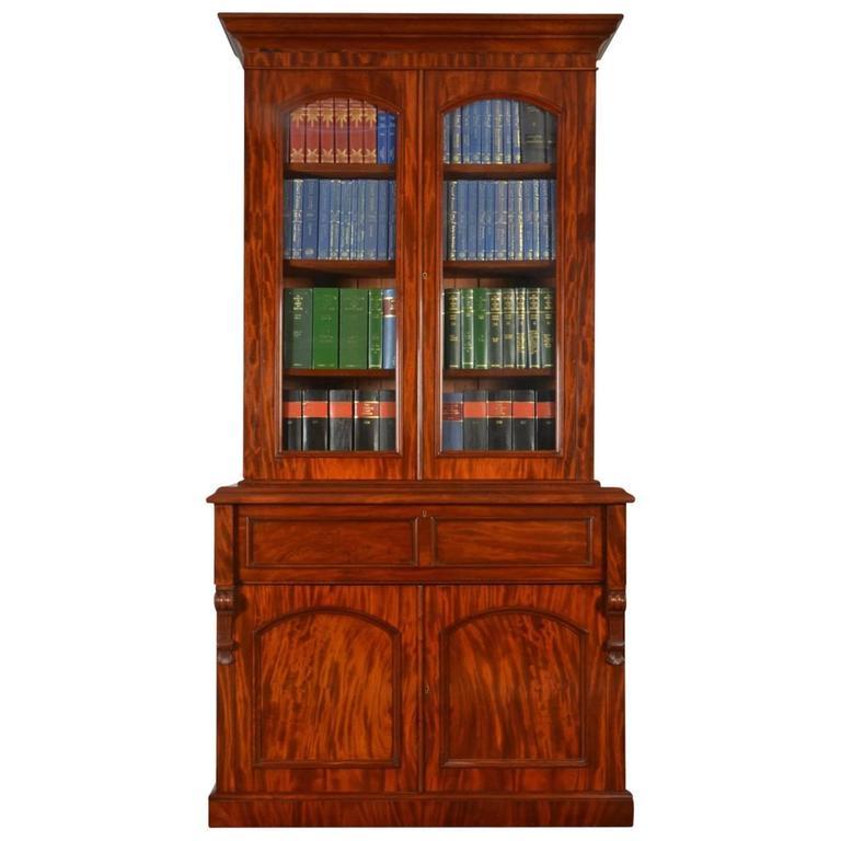 Mahogany Two Door Secretaire Bookcase For Sale