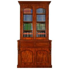 Mahogany Two Door Secretaire Bookcase