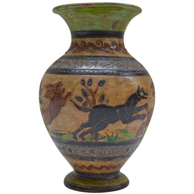 1929 Italian Ceramic Vase By Remo Donati Milani Factory Montopoli