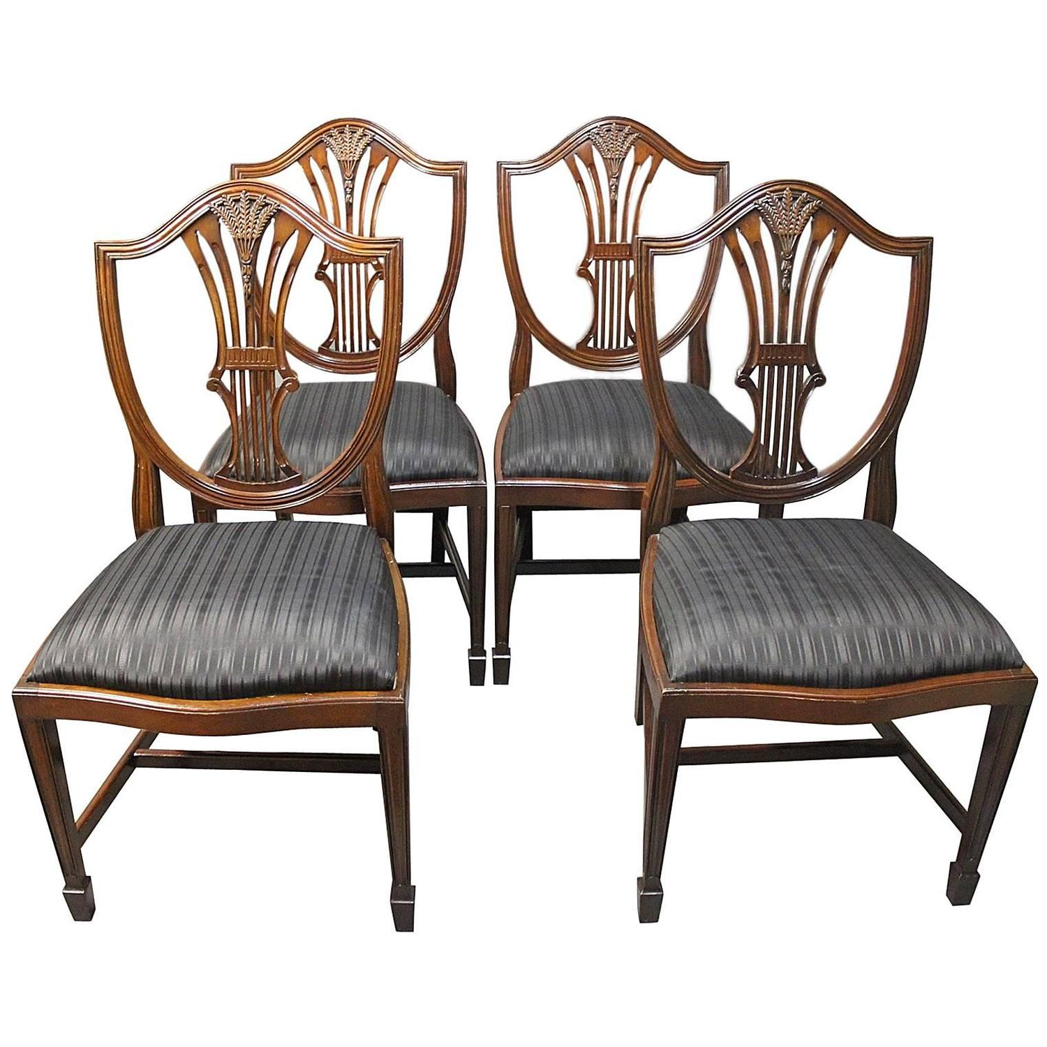 Antique Mahogany Dining Room Furniture: Set Of Four Antique Hepplewhite Dining Room Chairs In