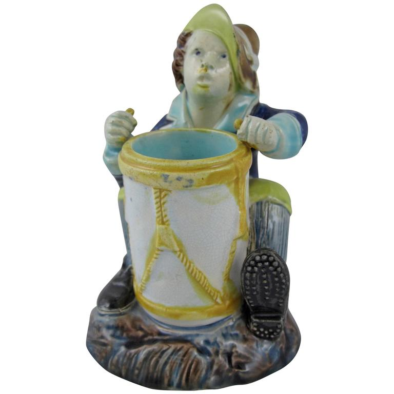 Joseph Holdcroft English Majolica Drummer Boy Figural Match Holder & Striker