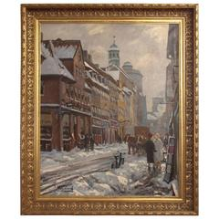 Oil Painting of Copenhagen's Streets in the Winter by Th. Nygaard, 1930