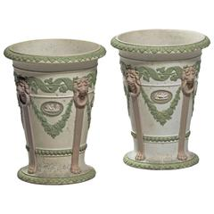 Rare Pair of Wedgewood Three-Colored Trumpet Shaped Vases