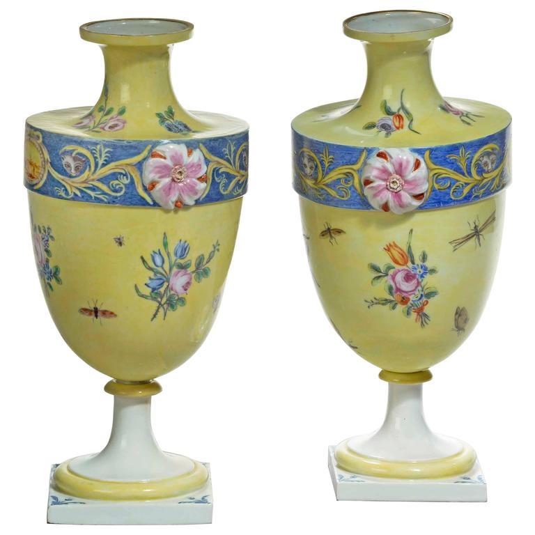 Rare Pair of 18th Century Bueno Retiro Pale Yellow Ground Vases