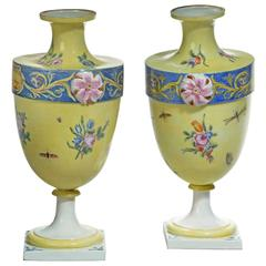 Rare Pair of 18th Century Bueno Retiro Pale Yellow Ground Vases
