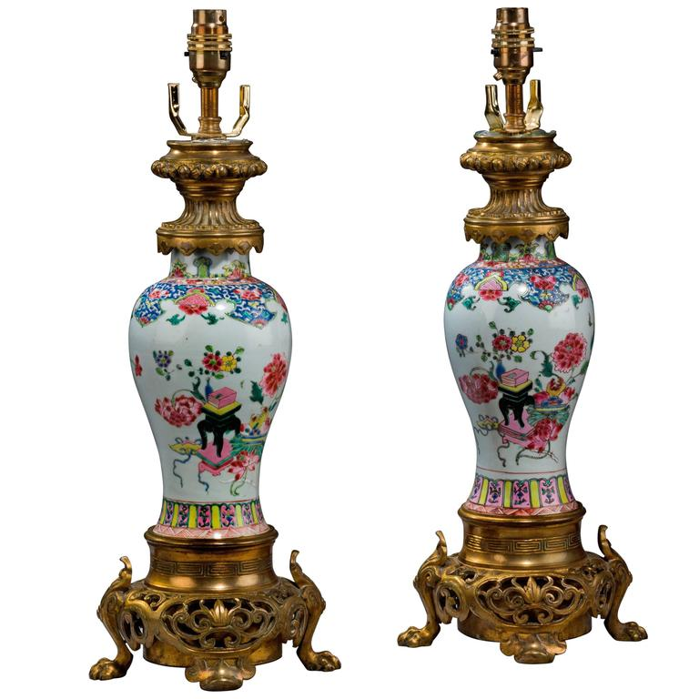 Pair of 19th Century Canton Porcelain Lamps