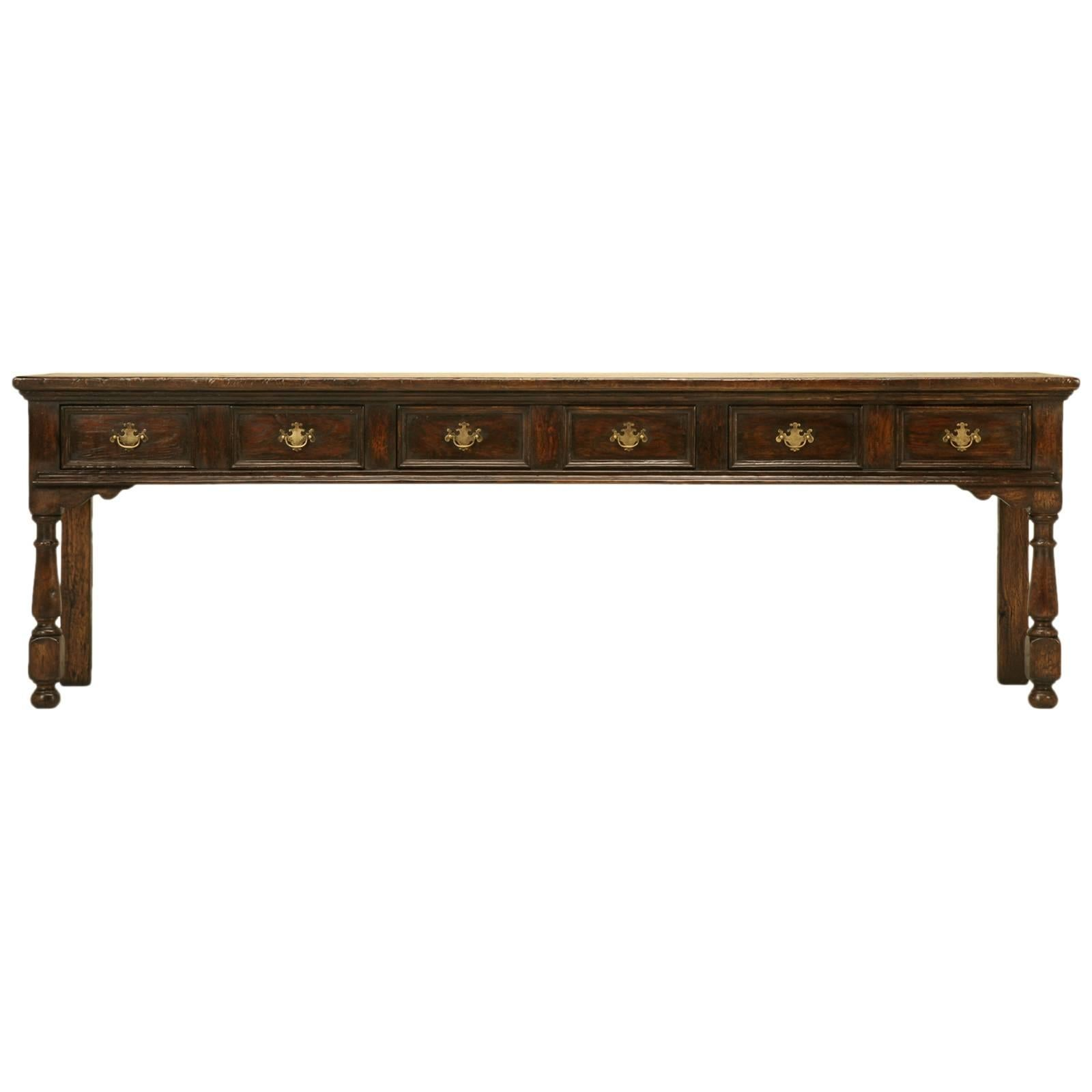 English Oak Sofa or Console Table Hand-Crafted in Chicago by Old Plank
