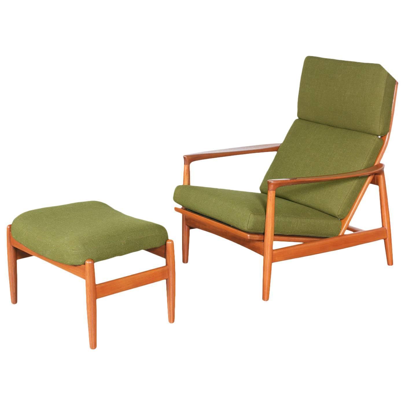 Folke Ohlsson Teak Lounge Chair with Ottoman for DUX at
