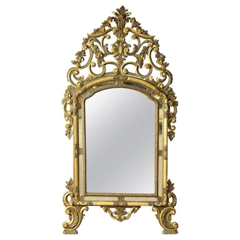 20th Century Lacquered and Gilded Mirror