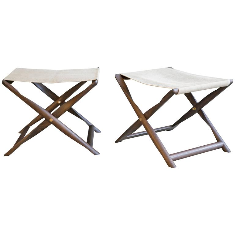 Pair of Propeller Stools in Fumed Ash with Linen Seats by Kaare Klint For Sale