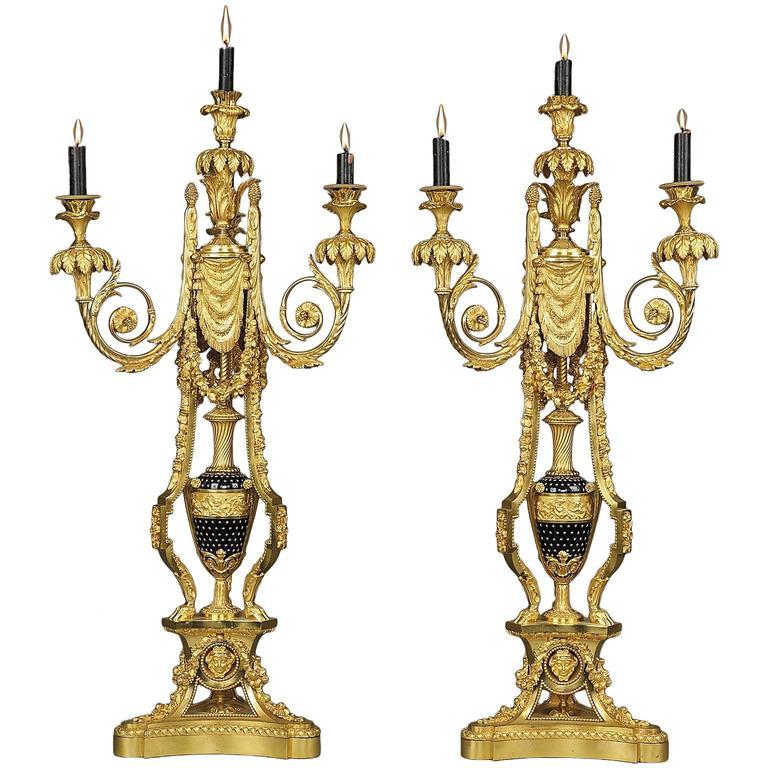 Pair of Napoléon III Gilt Bronze and Enamel Candelabra