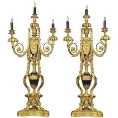 Pair of Napoléon III Gilt Bronze and Enamel Candelabra