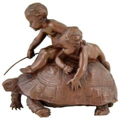 Antique Bronze Sculpture of Two Boys on a Tortoise by Barrias, 1877