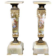 Very Fine Pair of Late 19th Century Gilt Bronze-Mounted Sèvres Style Pedestals