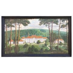 Swedish Oil Painting on Wood Castle Boraas