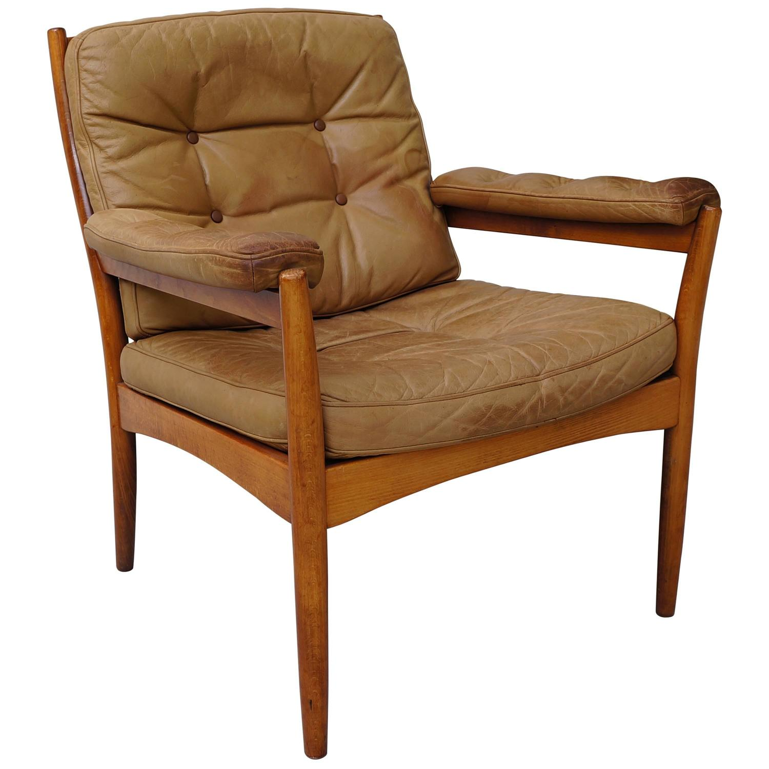 Göte Möbler Sweden Leather Wooden Lounge Chair at 1stdibs