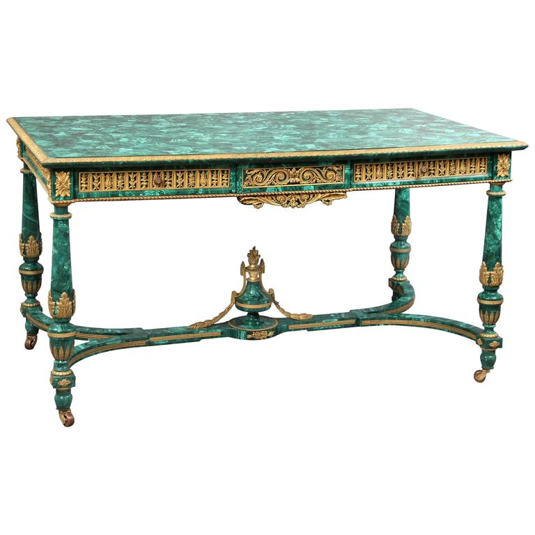 Late 19th Century Gilt Bronze Mounted Malachite Center Table by Henry Dasson