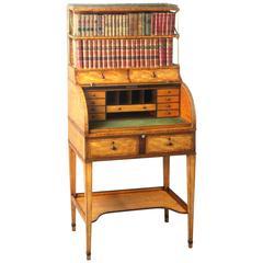 Antique Satinwood Cylinder Bookcase