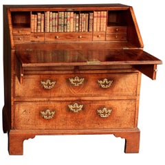 Early Georgian Antique Veneered Walnut Bureau