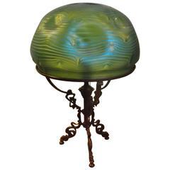 Loetz Art Glass and Bronze Lamp