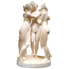 Carved Italian Alabaster Group of the Three Graces