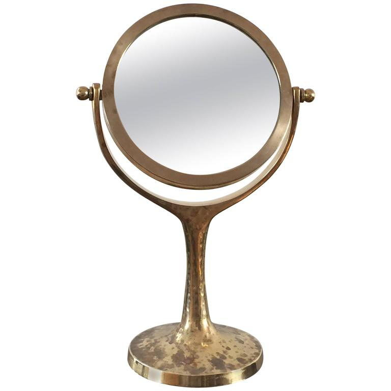 Exceptional Petite Vanity Psyché Mirror In Brass France