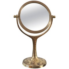 "Exceptional Petite Vanity ""psyché"" Mirror in Brass, France, 1960s"