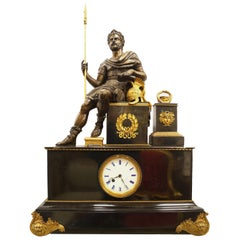 French Empire Style Bronze Figural Mantel Clock with Seated Roman Soldier