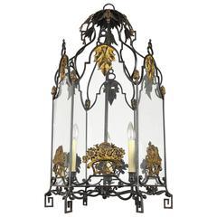 Wrought Iron and Glass Lantern