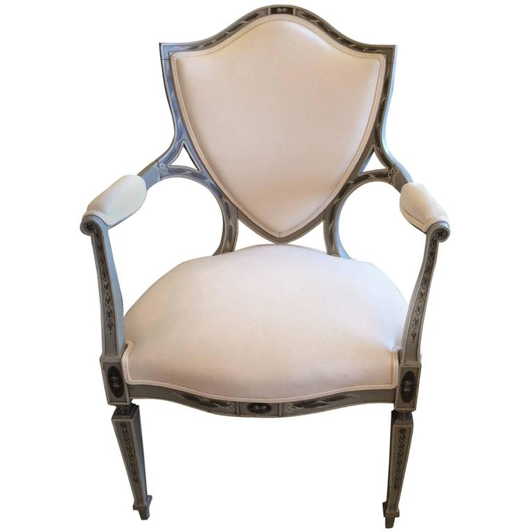 Dramatic Adam Style Hand-Painted and Upholstered Armchair