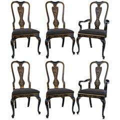 Set of Six Drexel Heritage Black Laquered Chinoiserie Dining Chairs