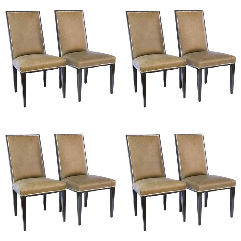 Set of Eight  Modern Taupe Green Leather Dining Chair Style of Ralph Lauren
