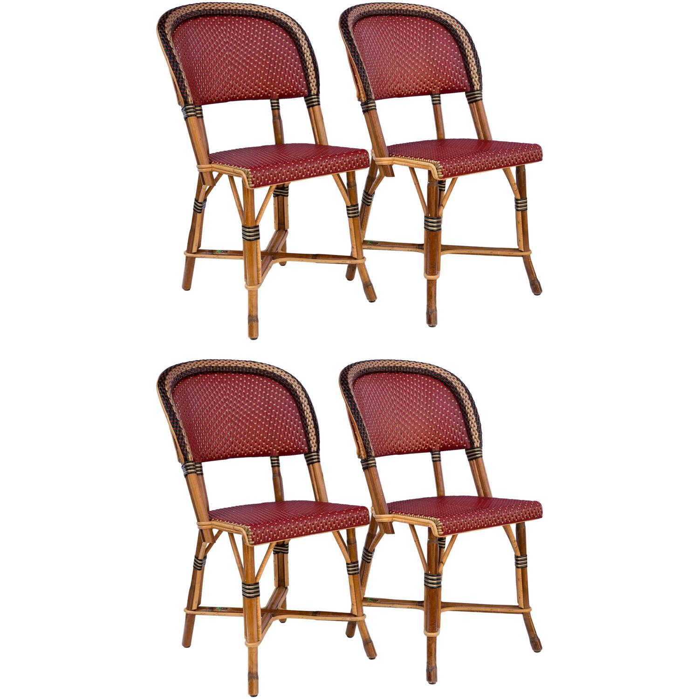 Fantastic Set of Four Maison Drucker Bastille Bamboo Bistro Chairs