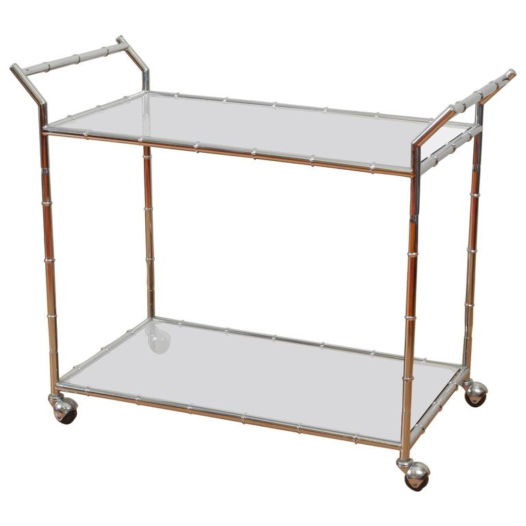 Hollywood Regency Faux Bamboo Chrome and Glass Serving Cart