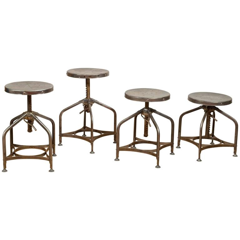 Industrial Steel Swivel Stools By Clement Uhl For Toledo