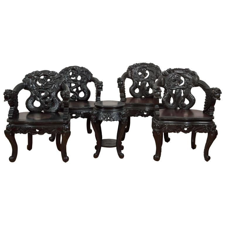 "Pair of Antique Hand Carved Chinese ""Dragon"" Chairs For Sale - Pair Of Antique Hand Carved Chinese ""Dragon"" Chairs At 1stdibs"