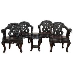 """Pair of Antique Hand Carved Chinese """"Dragon"""" Chairs"""