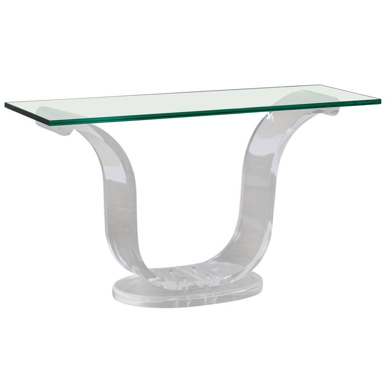 Vintage Lucite and Glass French Console Table, circa 1970