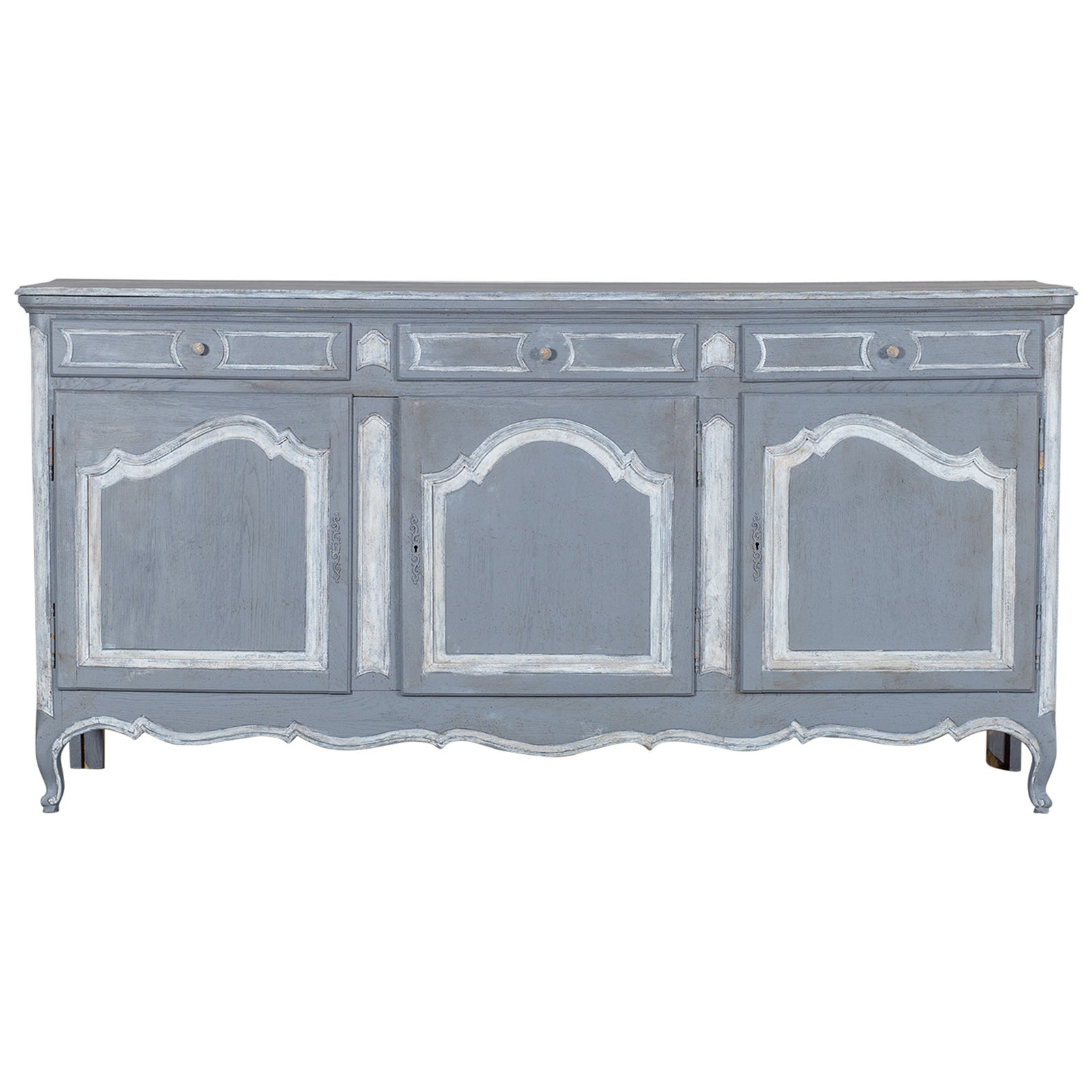 Antique French Henri II Style Carved, Weathered Oak Hunt Buffet ...