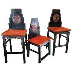 Set of Three Antique Cinnabar Chairs