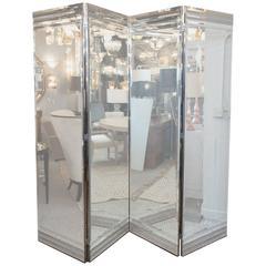 Glamorous Four-Paneled Mirror Screen with Beveled Smoked-Glass Detailing
